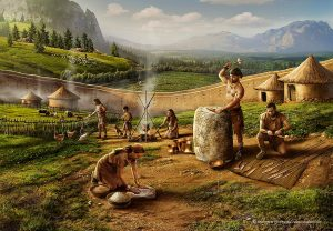 Ilustración prehistoria edad de los metales. Illustration of the prehistoric age of metals