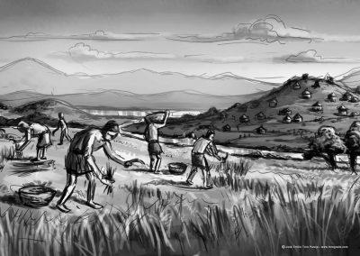 02-ilustracion-recolectores-del-neolitico-mudejar-museo-muvvel