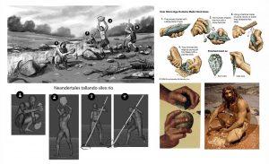 Ilustración Neardentales tallando sílex. Illustration Neardental carving flint.