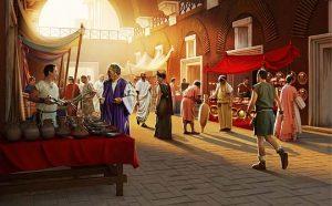 Ilustración Mercado Trajano en Roma. Illustration Trajan's Market in Rome