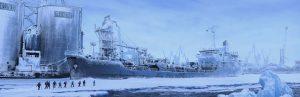 Llegada al puerto - matte painting, Arrival at the port - matte painting