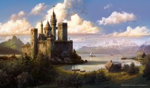 El Castillo del lago - Matte painting, The Castle on the lake - Matte painting