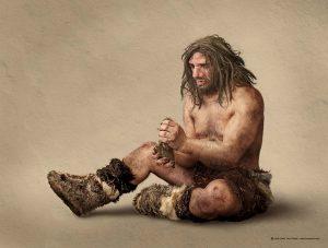 Hombre neandertal tallando silex, Neanderthal man carving silex