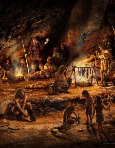 02-retoque-neandertales-en-torno-al-fuego