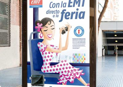 Ilustración. Con la EMT directo a la feria. Illustration. With the EMT direct to the fair.