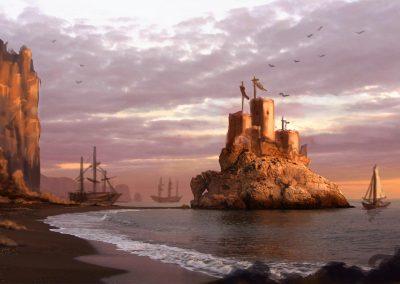 El Castillo de los Cuervos - Matte Painting, The Castle of the Crows - Matte painting
