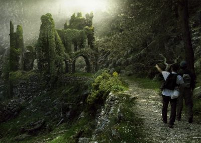 RUINAS EN EL CAMINO - Matte Painting, RUINS ON THE ROAD - Matte Painting.