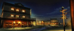 OASIS DE TABERNAS - Matte Painting del día a la noche, OASIS DE TABERNAS - Matte Painting from day to night.