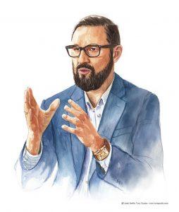 Ilustración retrato en acuarela de José Antonio Padilla, Watercolor portrait illustration of José Antonio Padilla.