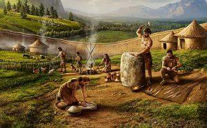 Ilustración prehistoria edad de los metales. Illustration of the prehistoric age of metals